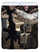 An Infantryman Talks To His Marines Duvet Cover by Stocktrek Images