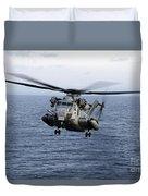 An Mh-53e Sea Dragon In Flight Duvet Cover by Stocktrek Images