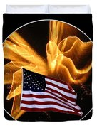 Angel Fireworks and American Flag Duvet Cover by Rose Santuci-Sofranko