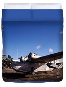 Antique Navy Seaplane Parked In Front Duvet Cover by Michael Wood