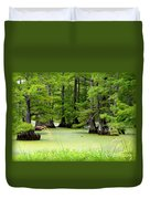 Arkansas Lake With Cypresses Duvet Cover by Carol Groenen