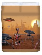 Artists Concept Of Life On Mars Long Duvet Cover by Mark Stevenson