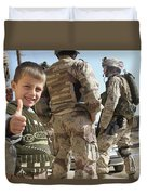 As A Father Is Questioned By Marines Duvet Cover by Stocktrek Images