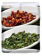 Assorted herbal wellness dry tea in bowls Duvet Cover by Elena Elisseeva