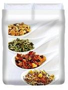 Assorted Herbal Wellness Dry Tea In Spoons Duvet Cover by Elena Elisseeva