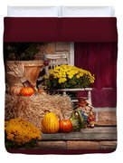 Autumn - Gourd - Autumn Preparations Duvet Cover by Mike Savad