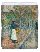 Autumn Boulevard In Paris Duvet Cover by Childe Hassam