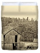 Autumn Farm sepia Duvet Cover by Steve Harrington
