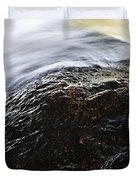 Autumn Leaf On River Rock Duvet Cover by Elena Elisseeva