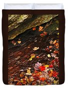 Autumn Leaves In River Duvet Cover by Elena Elisseeva