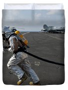 Aviation Boatswain's Mate Carries Duvet Cover by Stocktrek Images