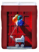 Baby buggy with balloons  Duvet Cover by Garry Gay