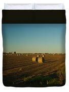 Bales In Peanut Field 13 Duvet Cover by Douglas Barnett