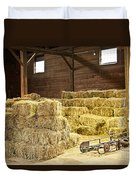 Barn With Hay Bales Duvet Cover by Elena Elisseeva