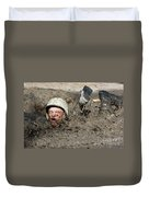 Basic Cadet Trainees Attack The Mud Pit Duvet Cover by Stocktrek Images