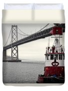 Bay Bridge And Fireboat In The Rain Duvet Cover by Jarrod Erbe