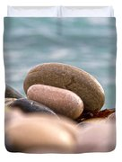 beach and stones Duvet Cover by Stylianos Kleanthous