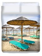 Beach Umbrellas On Sandy Seashore Duvet Cover by Elena Elisseeva