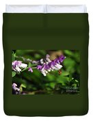 Bee On Flower Duvet Cover by Kaye Menner