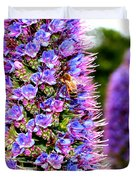 Bee On Purple Pride Of Madeira Flowers . 7d14835 Duvet Cover by Wingsdomain Art and Photography