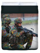 Belgian Infantry Soldiers In Training Duvet Cover by Luc De Jaeger