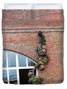 Belgian Paratroopers Rappelling Duvet Cover by Luc De Jaeger