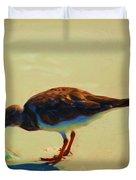 Bird On Daytona Beach Duvet Cover by David Lane
