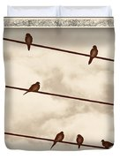 Birds On Wires Duvet Cover by Susan Kinney