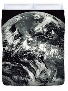 Black And White Image Of Earth Duvet Cover by Stocktrek Images