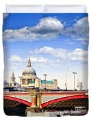 Blackfriars Bridge and St. Paul's Cathedral in London Duvet Cover by Elena Elisseeva