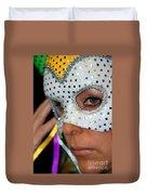 Blond Woman With Mask Duvet Cover by Henrik Lehnerer
