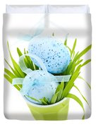 Blue Easter eggs and green grass Duvet Cover by Elena Elisseeva