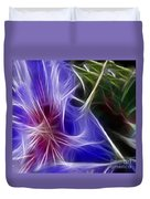 Blue Hibiscus Fractal Panel 1 Duvet Cover by Peter Piatt