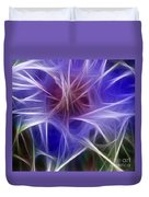 Blue Hibiscus Fractal Panel 2 Duvet Cover by Peter Piatt