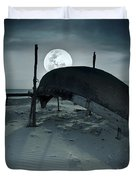 Boat and moon Duvet Cover by MotHaiBaPhoto Prints