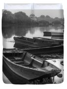 Boats on the Vienne Duvet Cover by Debra and Dave Vanderlaan