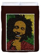 Bob Marley Bottle Cap Mosaic Duvet Cover by Paul Van Scott