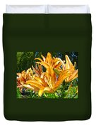 Bold Colorful Orange Lily Flowers Garden Duvet Cover by Baslee Troutman