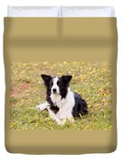 Border Collie In Field Of Yellow Flowers Duvet Cover by Michelle Wrighton