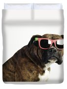 Boxer Wearing Sunglasses Duvet Cover by Ron Nickel