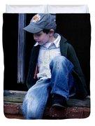 Boy in Window Duvet Cover by Kelly Hazel