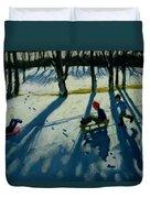 Boys Sledging Duvet Cover by Andrew Macara