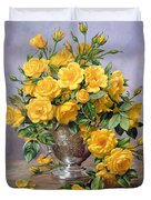 Bright Smile - Roses In A Silver Vase Duvet Cover by Albert Williams