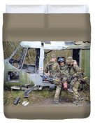 British Soldiers Help A Simulated Duvet Cover by Andrew Chittock