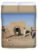 British Soldiers On Foot Patrol Duvet Cover by Andrew Chittock