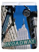 Broadway Sign And Empire State Building Duvet Cover by Axiom Photographic