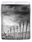 Broken Fence In Dune, South Shields Duvet Cover by John Short
