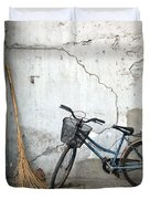 Broom and Bike Duvet Cover by Glennis Siverson