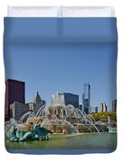 Buckingham Fountain Chicago Duvet Cover by Christine Till