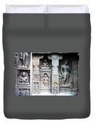 Buddha Carvings At Ajanta Caves Duvet Cover by Sumit Mehndiratta